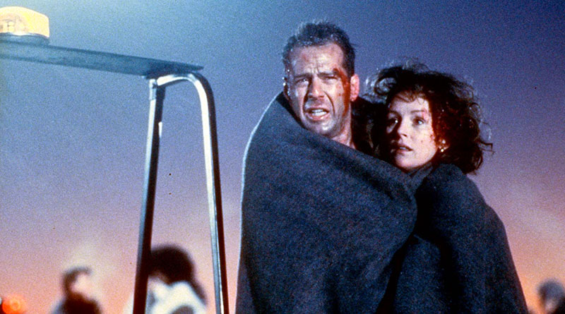 """John McClane (Bruce Willis) and his wife, Holly (Bonnie Bedelia) in """"Die Hard 2""""."""