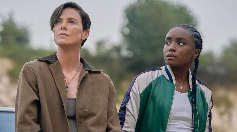 "Andy (Charlize Theron) and Nile (KiKi Layne) in Netflix's ""The Old Guard""."