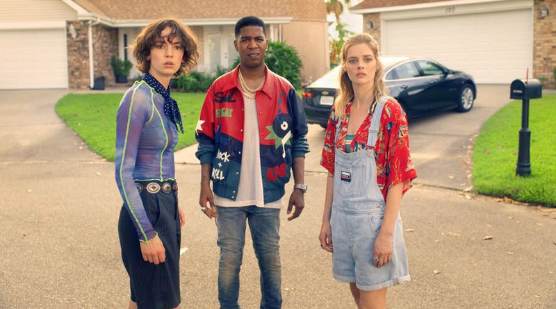 """(L-R) Brigette Lundy-Paine, Kid Cudi and Samara Weaving in """"Bill & Ted Face the Music"""" (2020)"""