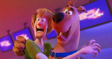 """Scooby (voiced by Frank Welker) and Shaggy (Will Forte) in a scene from """"Scoob!"""" (2020)"""