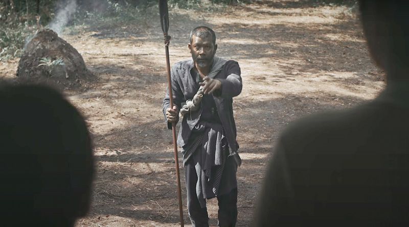 "Namron as the spear-wielding hunter in ""Roh"" (2020)"