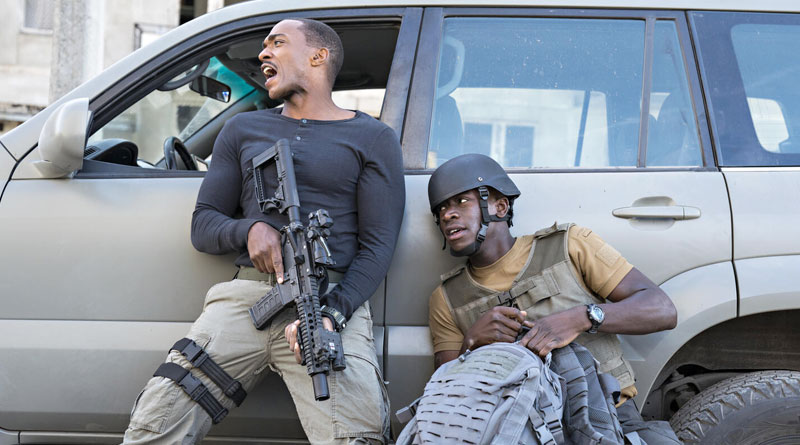 "Anthony Mackie and Damson Idris in Netflix's ""Outside the Wire"" (2021)"