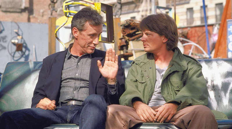 """James Woods and Michael J. Fox in """"The Hard Way"""" (1991)"""