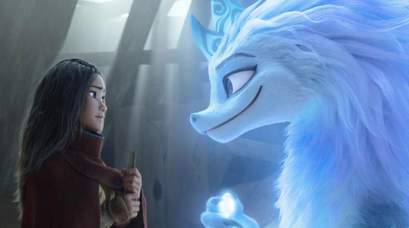 "Raya (Kelly Marie Tran) and Sisu the dragon (Awkwafina) in Disney's ""Raya and the Last Dragon"" (2021)"