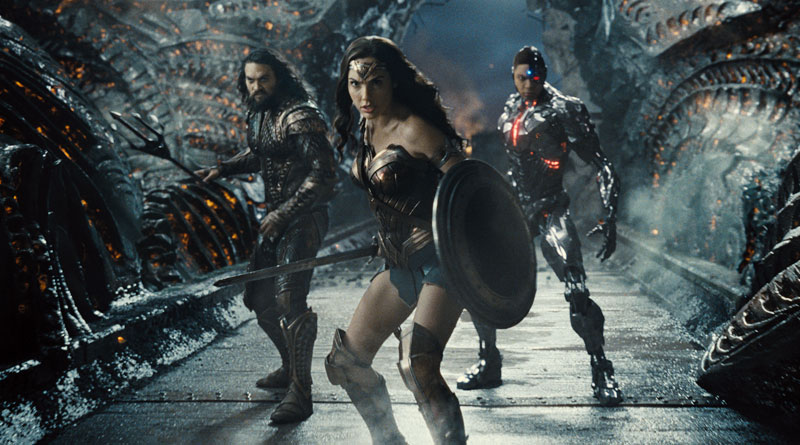 """(L-R) Aquaman (Jason Momoa), Wonder Woman (Gal Gadot) and Cyborg (Ray Fisher) in Zack Snyder's """"Justice League"""" (2021)"""