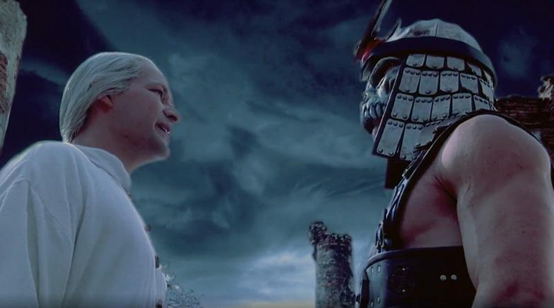 "Raiden (James Remar) and Shao Kahn (Brian Thompson) in ""Mortal Kombat: Annihilation"" (1997)"