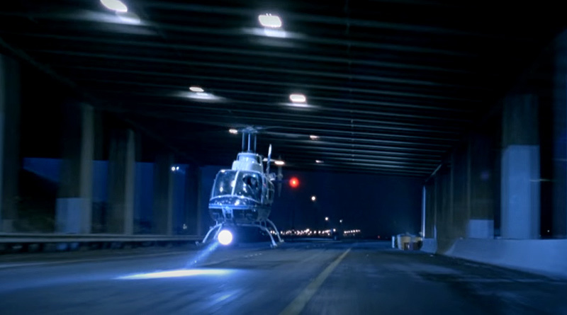 """T-1000 flies the helicopter underneath the overpass in """"Terminator 2: Judgment Day"""" (1991)"""