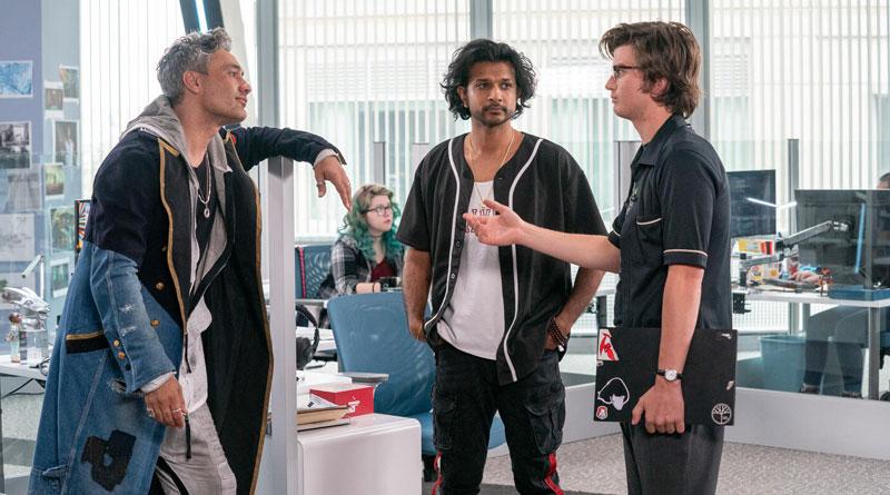 """(L-R) Taika Waititi, Utkarsh Ambudkar and Joe Keery in """"Free Guy"""" (2021)"""